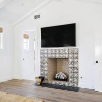Beige Stone Mosaic Tile Fireplace Design Ideas