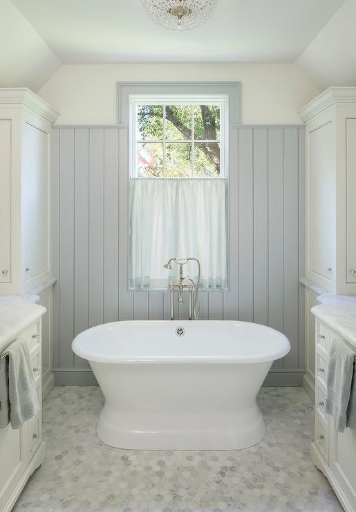 Attic Master Bathroom with Gray Shiplap  Cottage  Bathroom