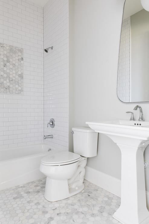 large marble hex bath floor tiles