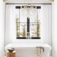 Tilted Flat Panel TV Over Bathtub - Cottage - Bathroom