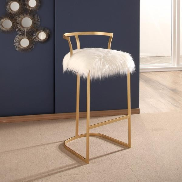 Modern Gray Fur Vanity Stool  Products bookmarks design inspiration and ideas