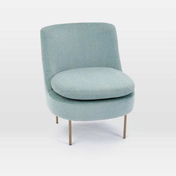 grey velvet slipper chair pc gaming office depot curved mint brass