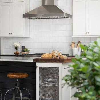 kitchen prep station small storage design ideas black shiplap island with industrial stools