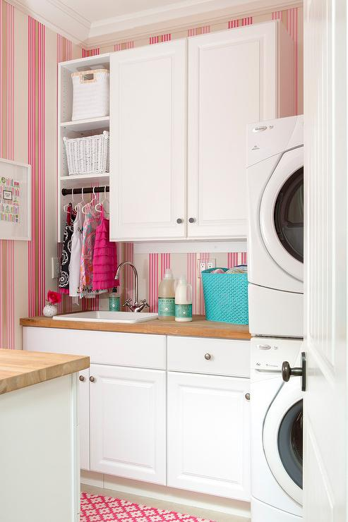 Silver Animal Print Wallpaper Coral Pink Laundry Room Cabinets Transitional Laundry Room