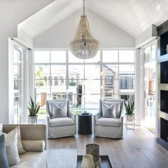 Black Living Room Chairs Pendant Lighting For Bedroom Sitting Nook With Light Gray Slipcovered ...