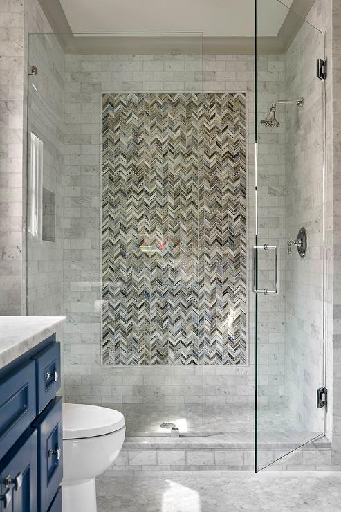 Shower With Gray Subway Tiles Contemporary Bathroom
