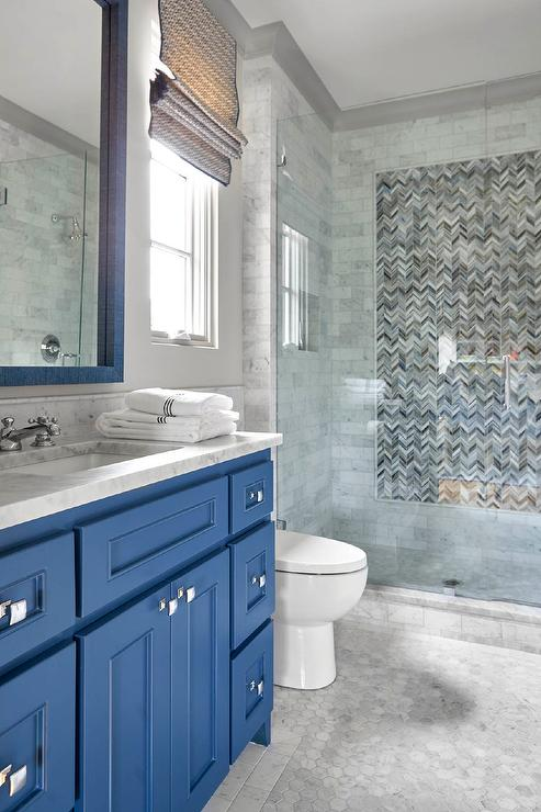 Light Blue Washstand with Gray Glass Backsplash Tiles  Transitional  Bathroom