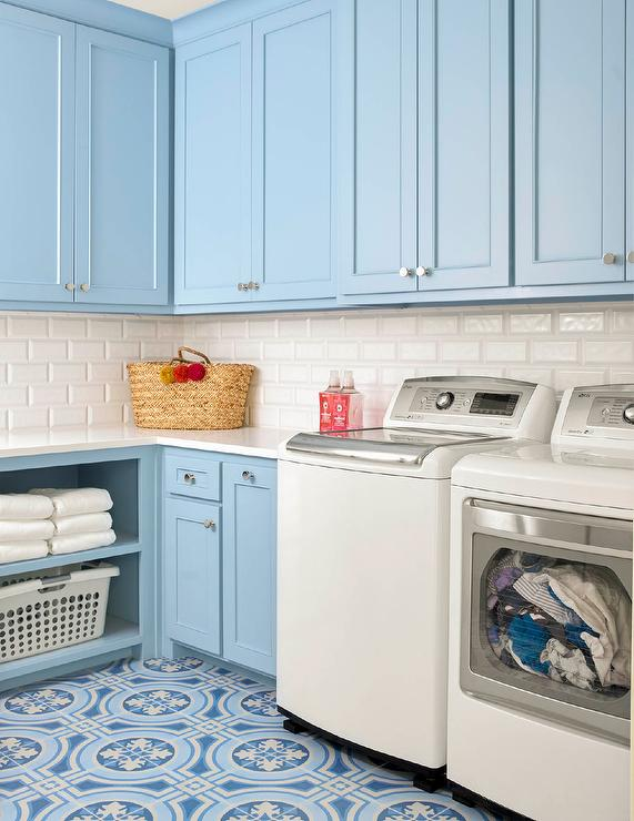 Cement Countertop Colors Powder Blue Laundry Room Cabinets With White Washer And