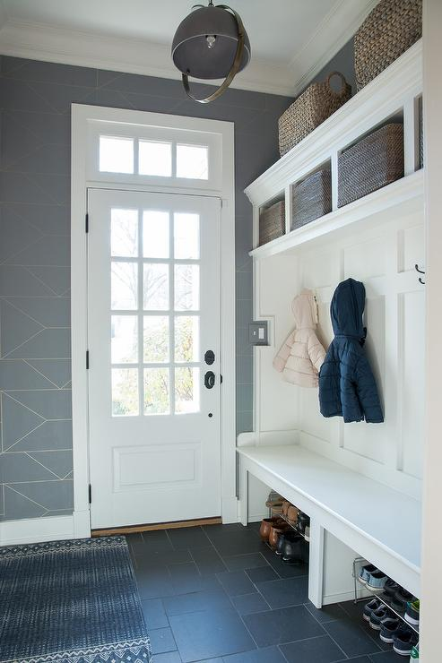 Transitional Mudroom with Built In Bench and Board and Batten Trim  Transitional  Laundry Room