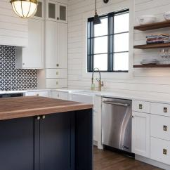Kitchen Sink Faucet Island And Table Stacked Floating Walnut Shelves On Shiplap Wall ...