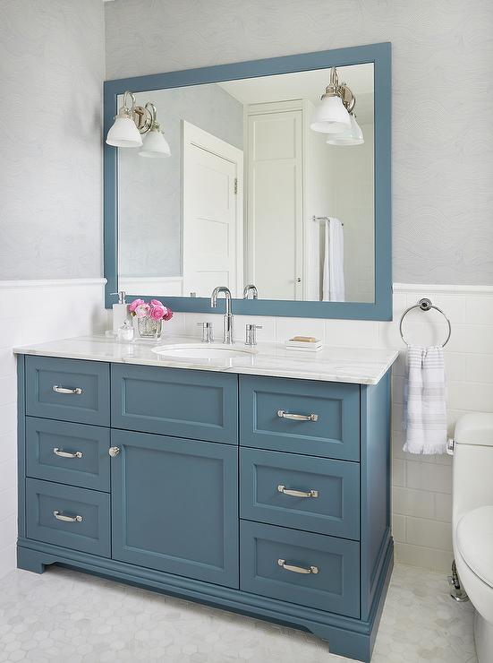 Light Blue Bathroom Vanity  Transitional  Bathroom  Telich Custom Homes