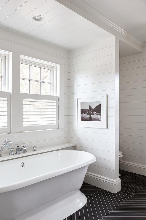 Black And White Kids Bathroom With Shiplap Trim Cottage Bathroom