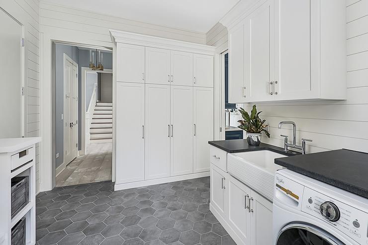 Dark Gray Hexagon Laundry Room Floor Tiles