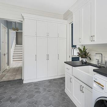 dark gray hexagon laundry room floor