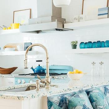recycled glass kitchen countertops 3 hole faucets countertop design ideas blue and gray
