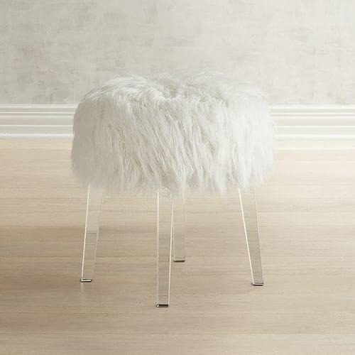 chair stool target gym office round faux fur pink acrylic vanity