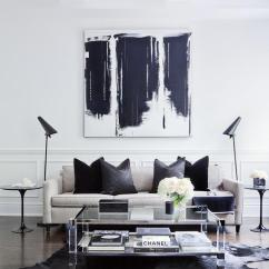 White Modern Living Room Rooms To Go Table Brass And Lucite Coffee On Black Cowhide Rug