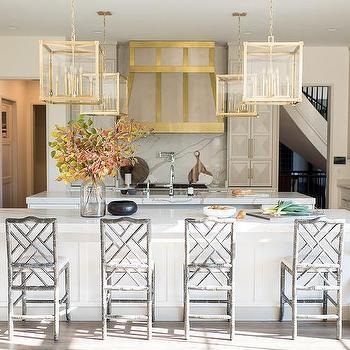 kitchen lanterns bar designs square glass and brass design ideas over long white island