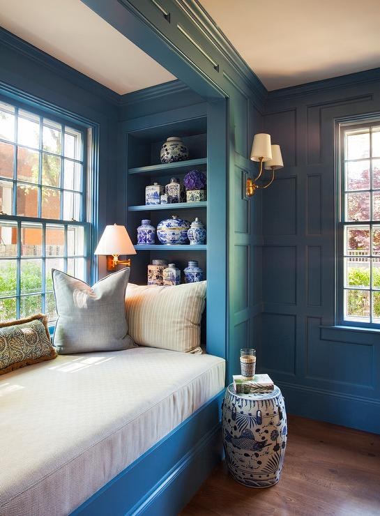 Blue Paneled Den With Dark Blue Built In Bookcases Transitional Denlibraryoffice