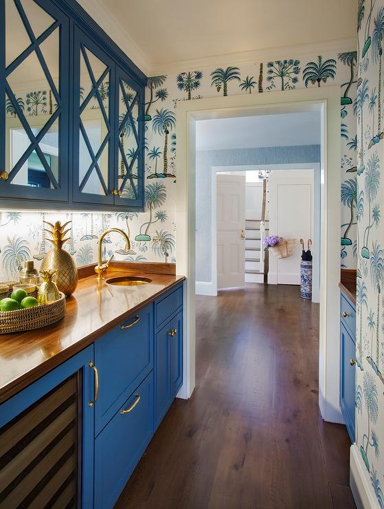 Blue Mirrored Pantry Cabinets with Blue Palm Tree Wallpaper  Cottage  Kitchen