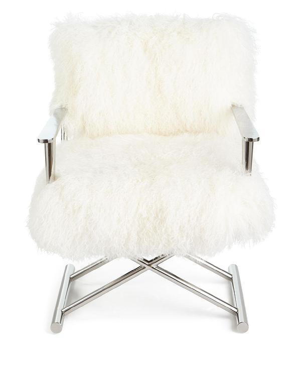 directors chair white yellow recliner emerson sheepskin chrome