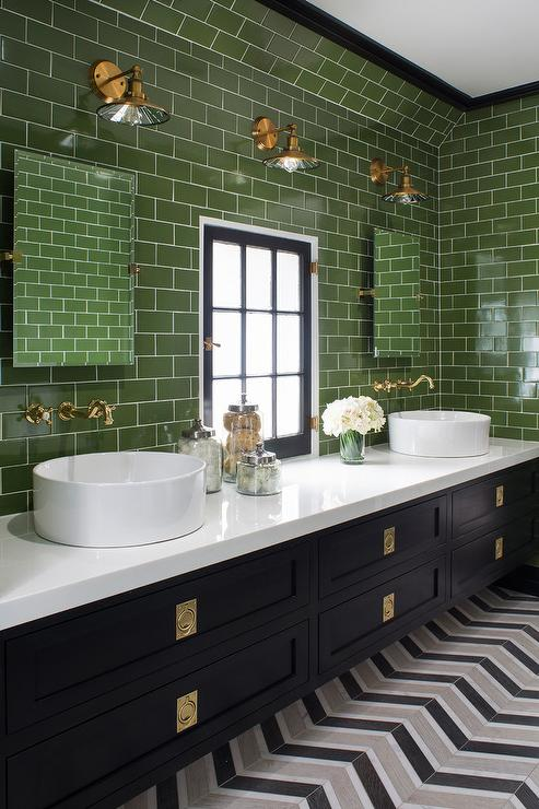 Black and White Bathroom with Green Subway Tiles