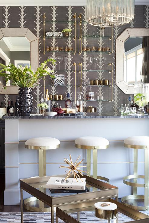 Brass And Glass Bar Shelves Design Ideas