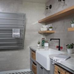 Country Style Kitchen Sink Ceramic Knives Industrial Laundry Room With Gray Tiles ...