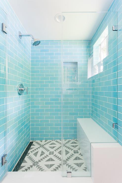 turquoise arabesque tiles with frosted