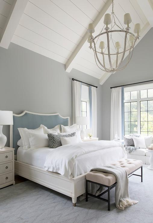 Gray And Blue Master Bedroom With Blue French Pleat