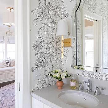 45+ Black And White Bathroom Wallpaper