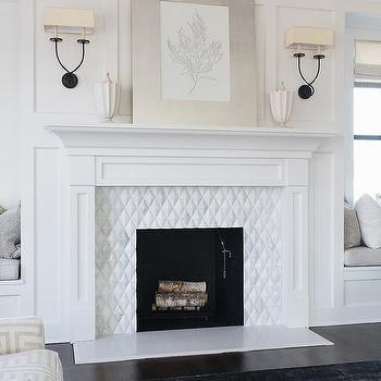 white diamond pattern fireplace