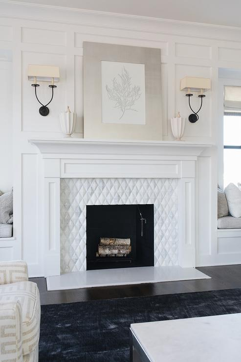 white board and batten fireplace wall