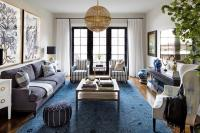 Camel Colored Tufted Sofa with Gold Pillows - Transitional ...