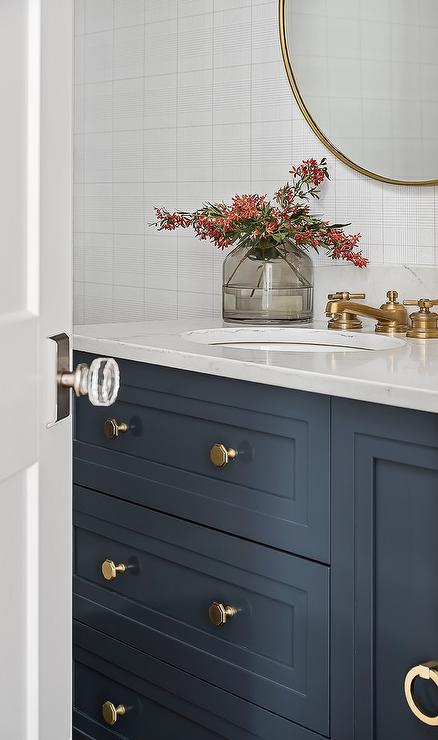 Navy Blue Bath Vanity with Antique Brass Vintage Faucet  Transitional  Bathroom