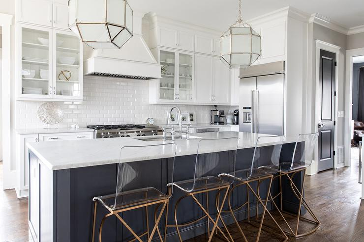 Frosted Glass Island Lanterns Transitional Kitchen