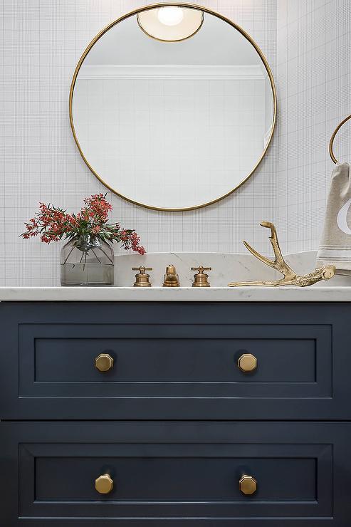 round BRass Mirror with Navy Blue Washstand  Transitional  Bathroom