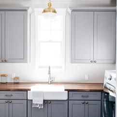 Brushed Bronze Kitchen Faucet Grey Shaker Cabinets White Laundry Room With Brass Octagon ...