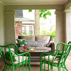 Rattan Wingback Chairs Rocking Chair Arm Cushions Green With Wicker Coffee Table Transitional Deck Patio