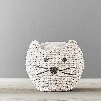 Cat Woven Rattan Animal Basket