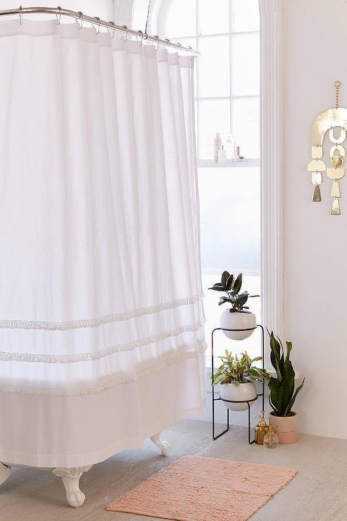 henri fringe white cotton shower curtain