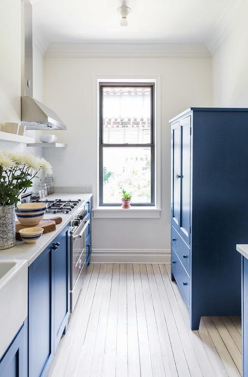 kitchen armoire replacing sink blue transitional