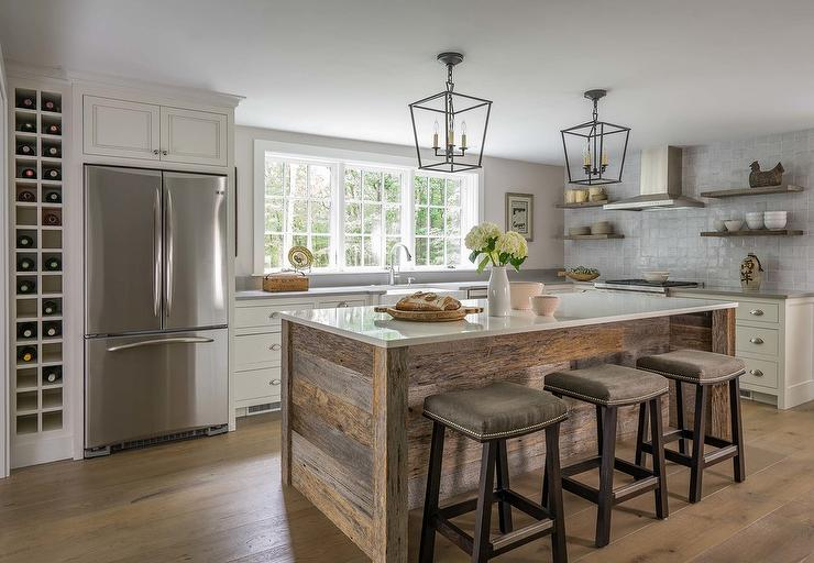 Island With Barn Wood Planks Transitional Kitchen