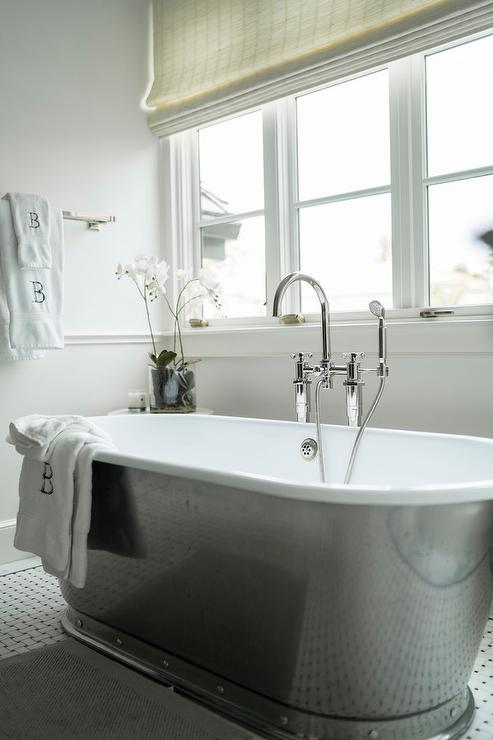 Black And White Roman Shades Eclectic Bathroom John