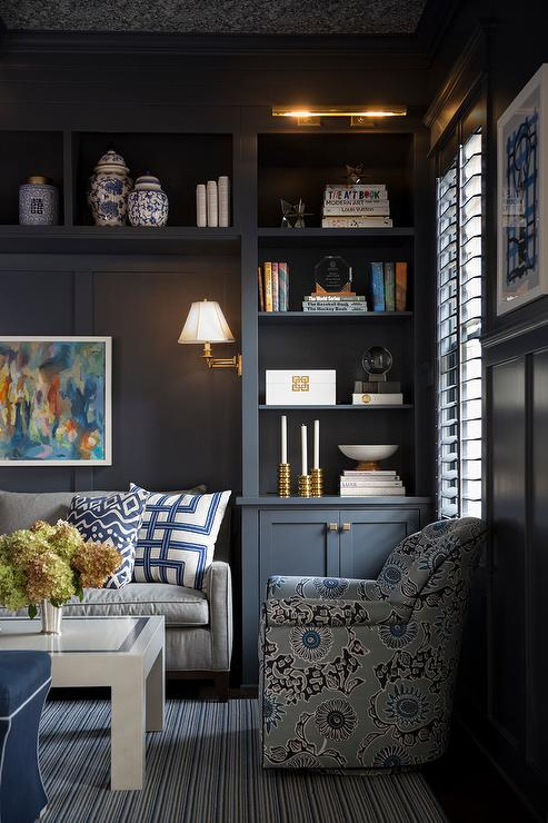 Gray Paneled Den  Transitional  denlibraryoffice