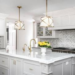 Kitchen Hardware Towels Bulk White And Gold Drum Pendant Lights Over Light Gray Island ...