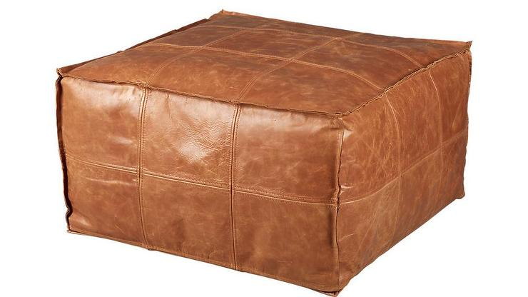 Small Round Leather Ottoman