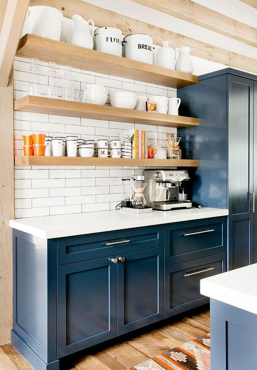 Floating Wood Kitchen Shelves Design Ideas