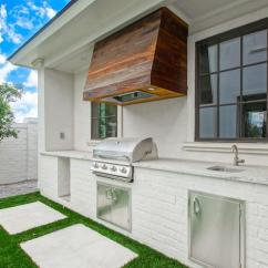Outdoor Kitchen Hood Appliance Repair White Brick With Reclaimed Wood Plank