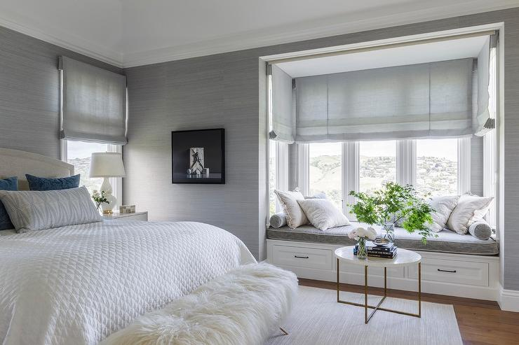 White and Platinum Gray Master Bedroom with Window Seat Nook  Transitional  Bedroom